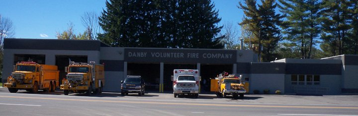 Fire trucks in front of the Danby Volunteer Fire District building
